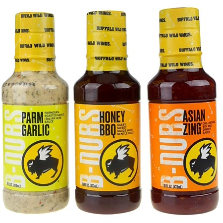 Fan Fave Sauces - Parmesan Garlic, Honey BBQ, Asian Zing (3 - 16 oz Bottles Total) Buffalo Wild Wings - (Best Buffalo Wild Wings Food)