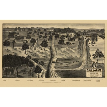 Vintage Map Of New Salem Illinois 1909 Menard County Canvas Art     18 X 24