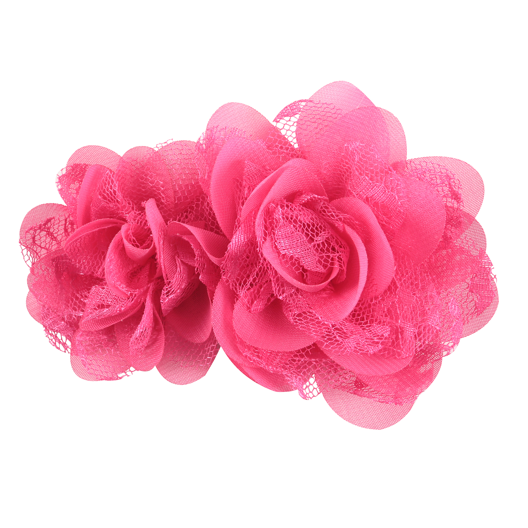 OFFRAY ACCESSORY HOT PINK CHIFFON LACE FLOWERS 2 PIECES