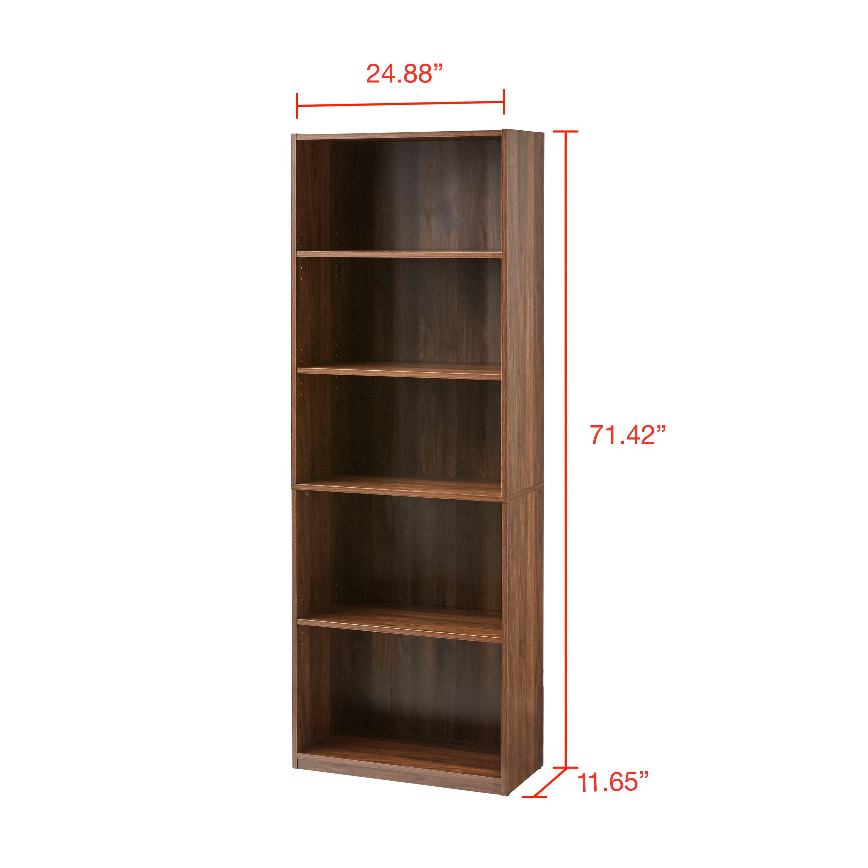 """Mainstays 71"""" 5 Shelf Bookcase, Black - Walmart.com - Walmart.com"""