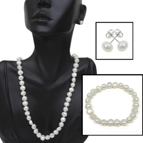 929 Silver Genuine Cultured Freshwater Pearl Necklace Bracelet & Earring Set