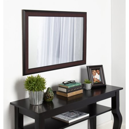 DesignOvation Virgo Framed Wall Mirror - 23W x 34H in. (Mahogany Landscape Mirror)