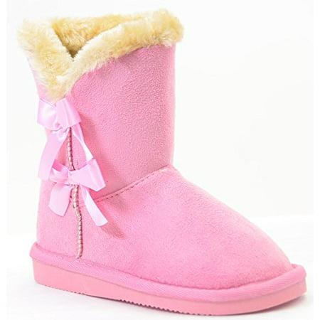 ba3e4c15b4 Fourever Funky - Bows Shearling Vegan Fur Suede Girls Black Boots KIDS (A  Pink, 12 B(M) US) - Walmart.com