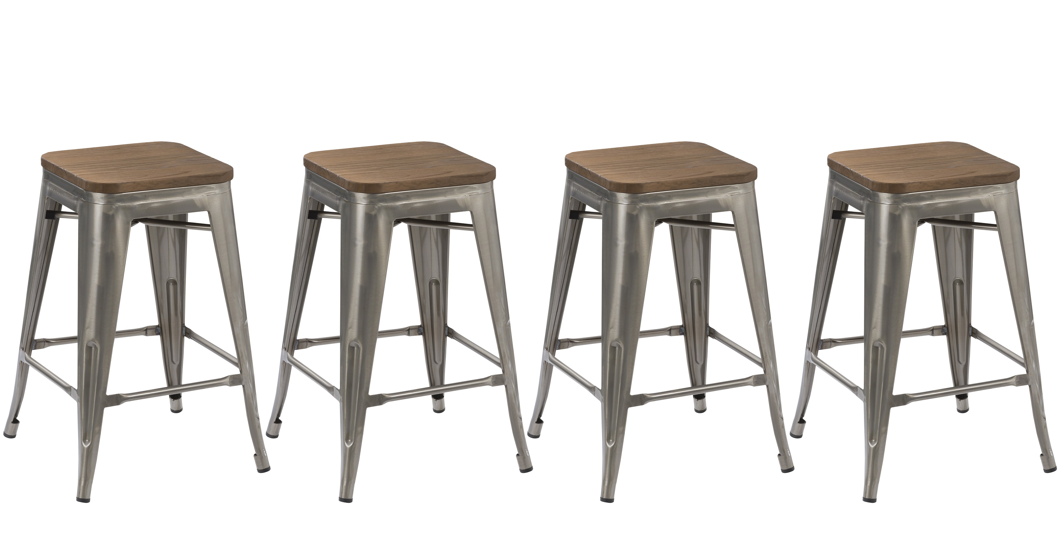 BTEXPERT® 24-inch Industrial Stackable Metal Vintage Antique Style Clear Brush Distressed Counter Bar Stool Modern wood top seat (Set of 4 barstool) ...  sc 1 st  Walmart & BTEXPERT® 24-inch Industrial Stackable Metal Vintage Antique Style ... islam-shia.org
