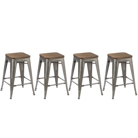 Btexpert  24 Inch Industrial Stackable Metal Vintage Antique Style Clear Brush Distressed Counter Bar Stool Modern Wood Top Seat  Set Of 4 Barstool