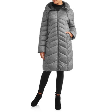 30 First Women's Chevron Puffer Coat with Hood