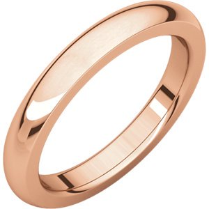 - Jewels By Lux 18K Rose Gold 3mm Heavy Comfort Fit Mens Wedding Ring Band Size 9.5