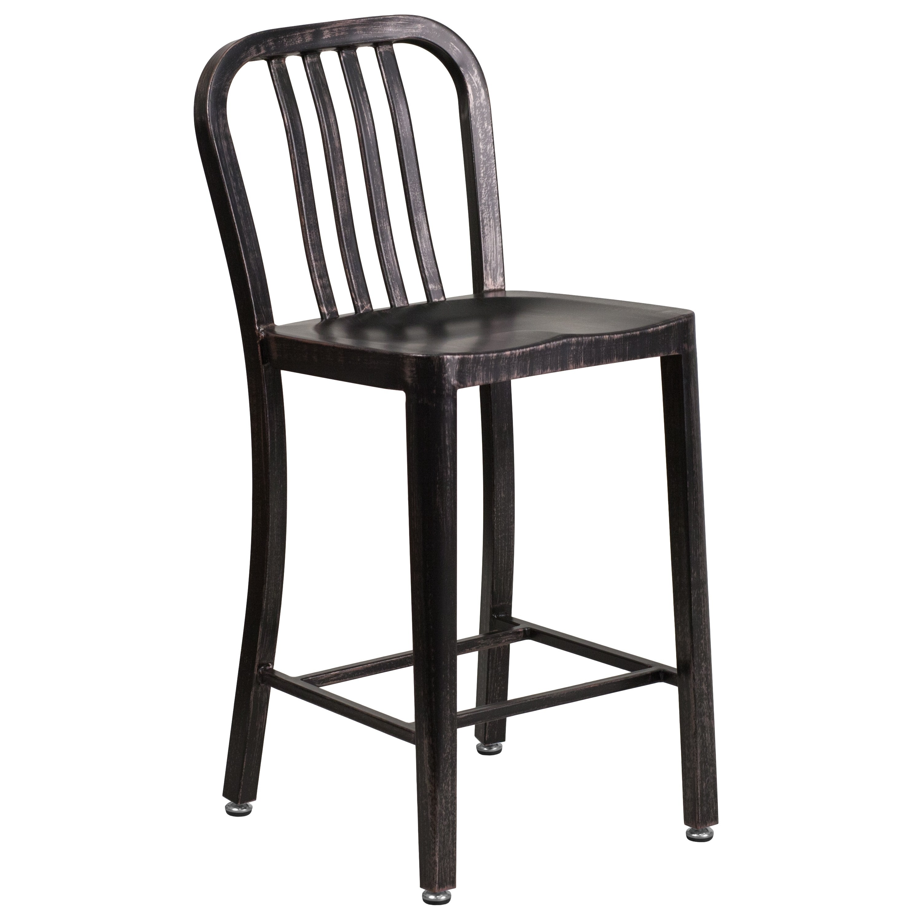 Lancaster Home 24'' High Metal Indoor-Outdoor Counter Height Stool with Vertical Slat Back