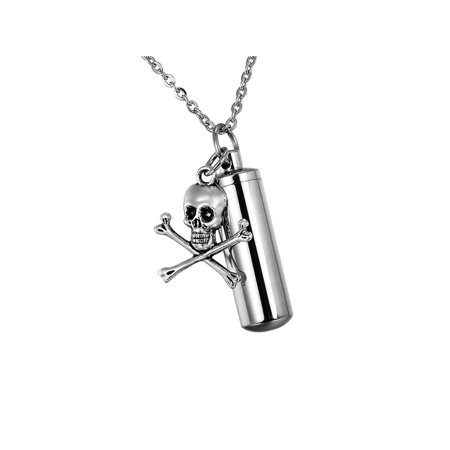 Fashion Jewelry Bone (Bone Skull Cylinder Cremation Jewelry Keepsake Urn Necklace Ash Holder Key Chain )