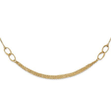 Roy Rose Jewelry 14K Yellow Gold Polished and Textured Fancy Link Necklace ~ Length 17.75'' inches