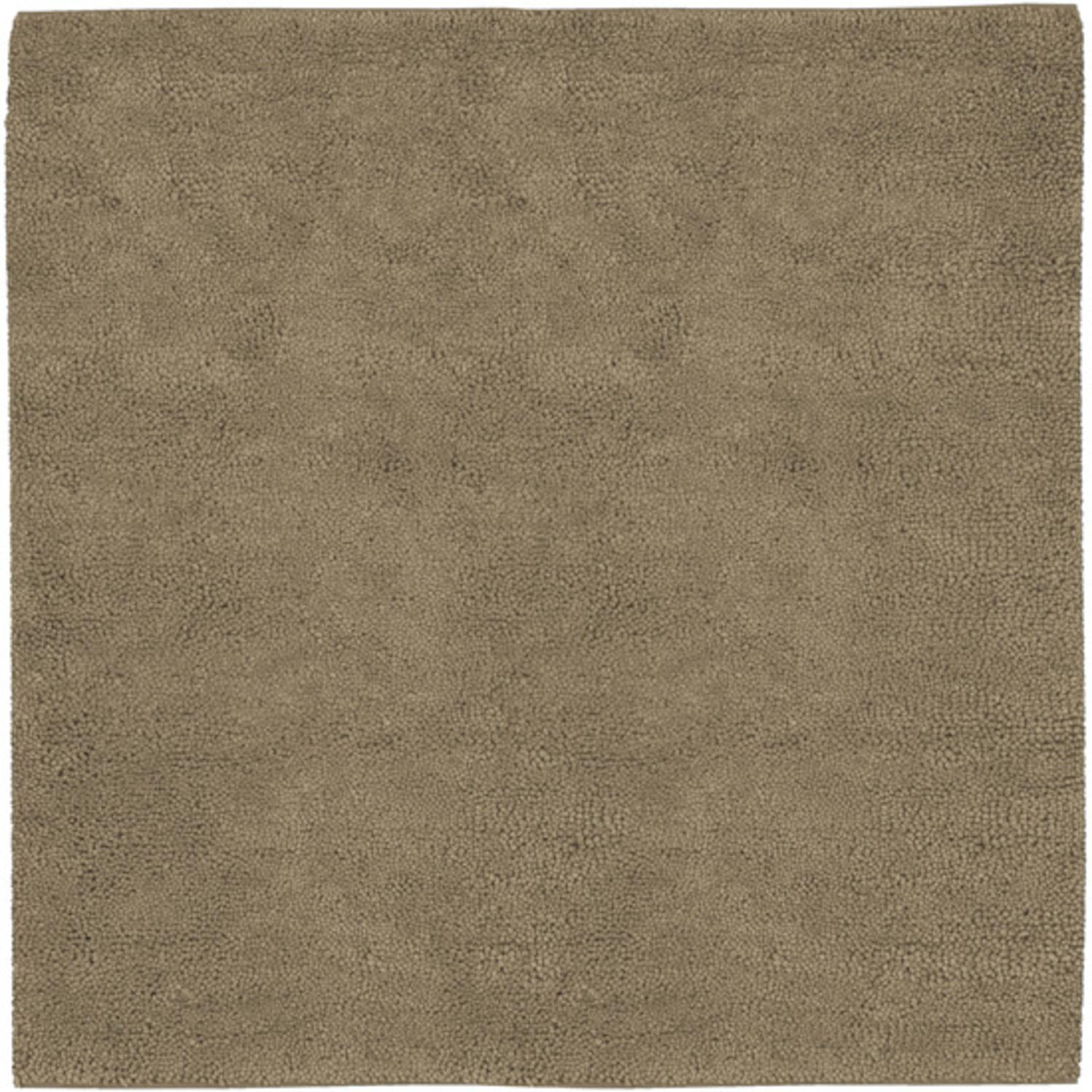 8' Solid Sandy Taupe Hand Woven Square New Zealand Wool Shag Area Throw Rug