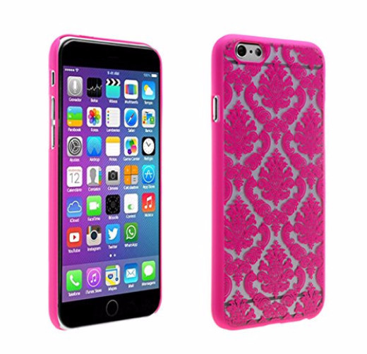 Apple iPhone 6S Case, iPhone 6 Case, Ultra Slim Damask Vintage Case Cover for Iphone 6S/6 - Hot Pink