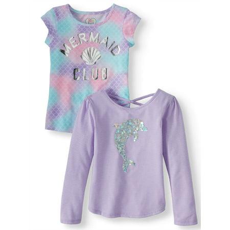 Long Sleeve and Short Sleeve Tees, 2-Pack (Little Girls & Big Girls)