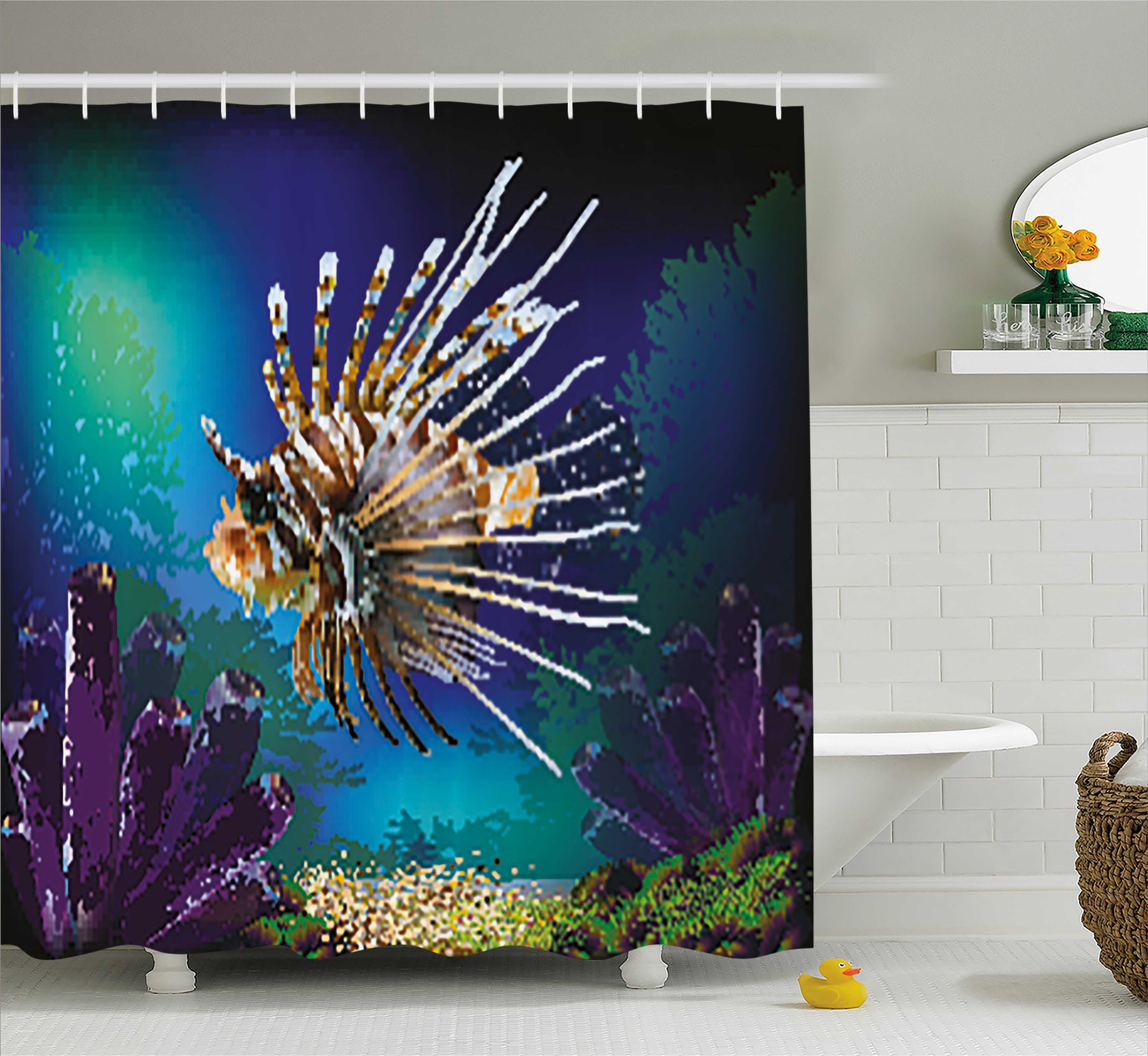 Ocean Shower Curtain, Underwater World Exotic Bubble Fish and Plants Nautical Theme Illustration, Fabric Bathroom Set with Hooks, 69W X 84L Inches Extra Long, Blue Brown Purple, by Ambesonne
