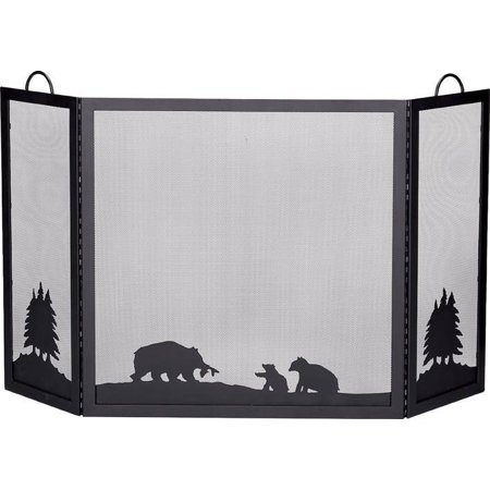 Deluxe 3 Panel Fireplace Screen W Black Finished Hunting Scene