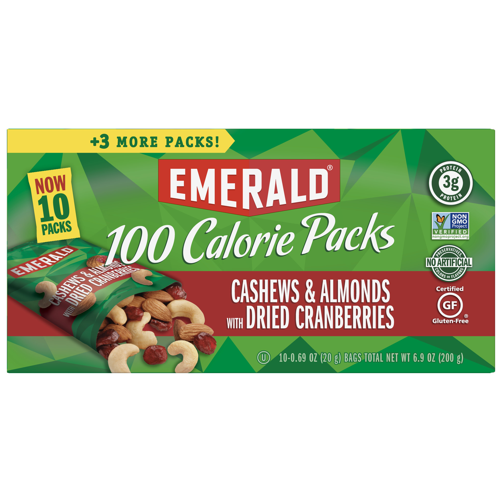 Emerald Nuts Cashews & Almonds with Dried Cranberries, 100 Calorie Packs, 10 Ct