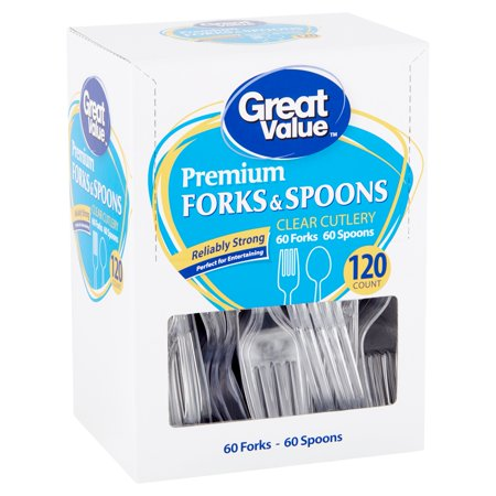 Great Value Premium Clear Cutlery Forks & Spoons, 120 count