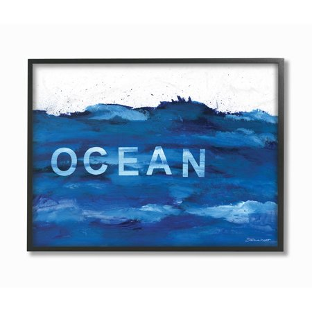 The Stupell Home Decor Collection Minimal Ocean Blue Paint Splash Oversized Framed Giclee Texturized Art, 16 x 1.5 x 20