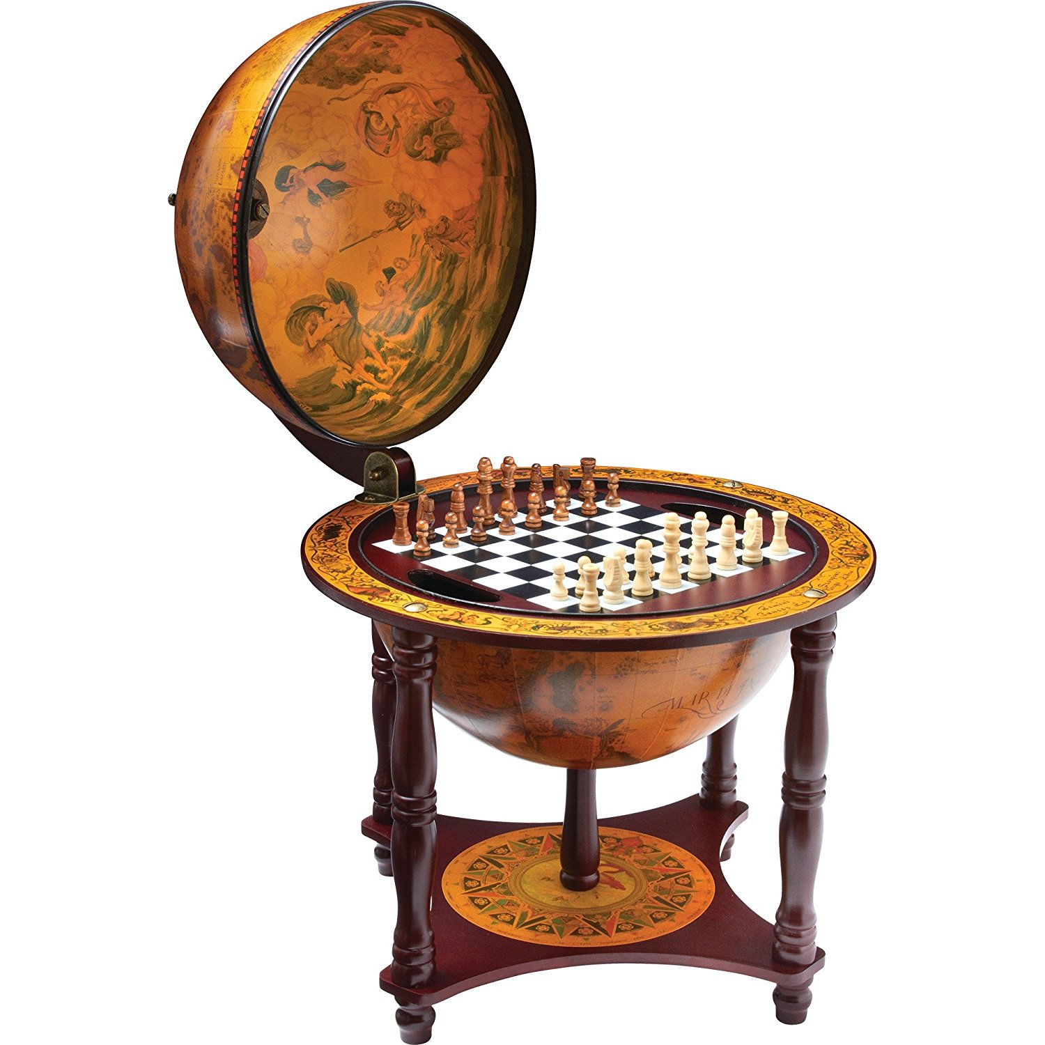 """Kassel 13"""" Diameter Globe with 57pc Chess and Checkers Set by"""