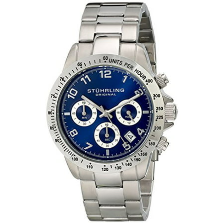Concorso Mens Sports Watch - Analog Quartz Chronograph Watch - Blue Dial Date Display Wrist Watch for Men - Mens Designer Watch with Stainless Steel Bracelet 665B.02 (Chronograph Date Display)