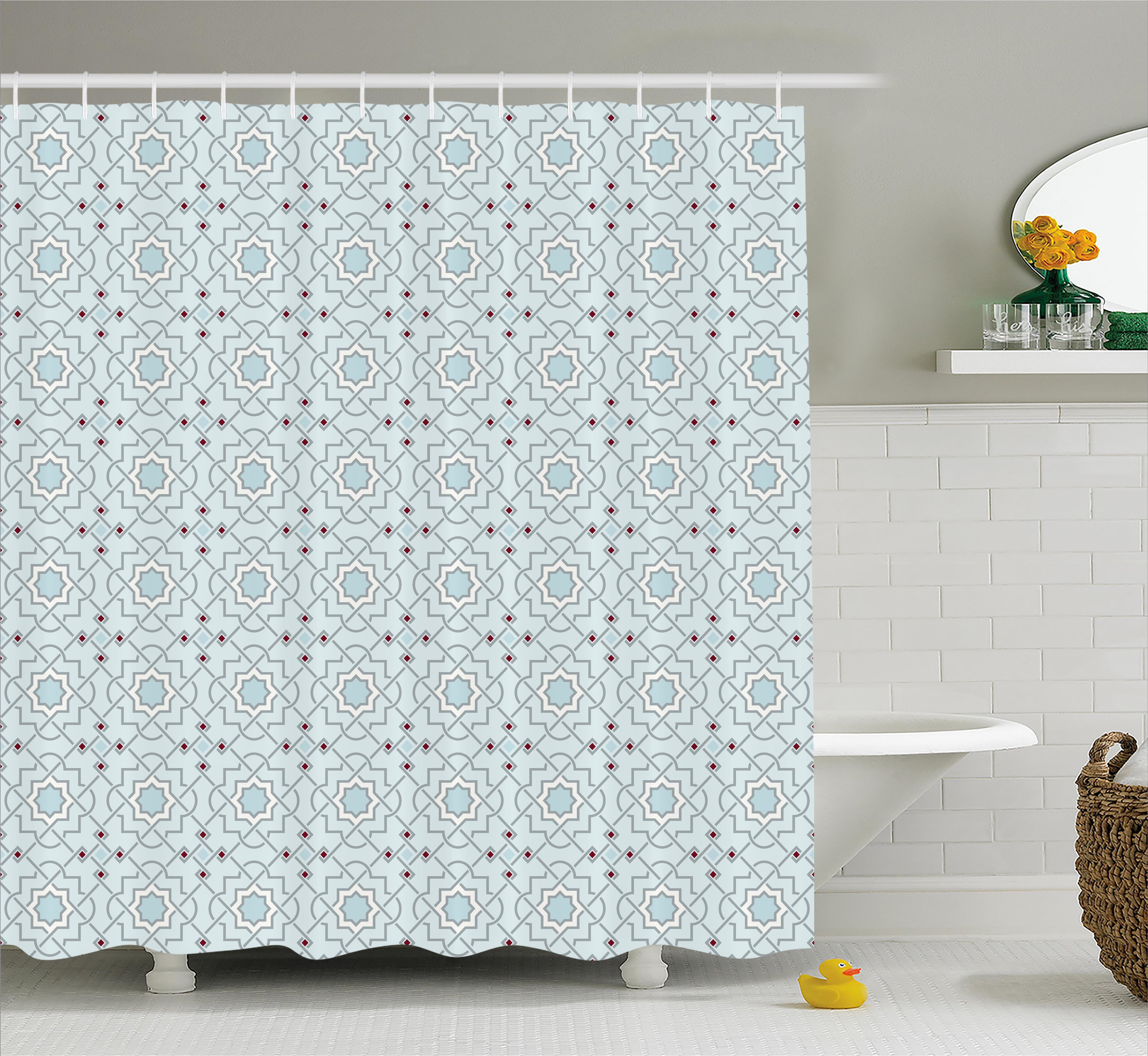 Asian Yoga Pattern Shower Curtain Fabric Decor Set With