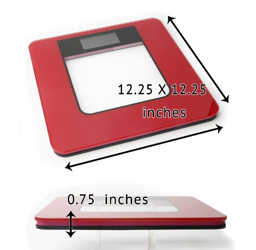 Ivation Ultra Thin LCD Tempered Glass Digital Bathroom & Gym Scale - Super Accurate HighPrecision Strain Gauge Sensor System - 330-Pound Load Capacity - Deep Pink