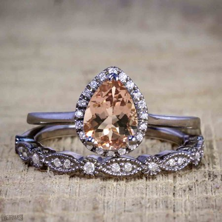 Antique Vintage 1.25 Carat Pear cut Artdeco Halo Engagement Ring with Morganite and Diamond for Her in Black Gold