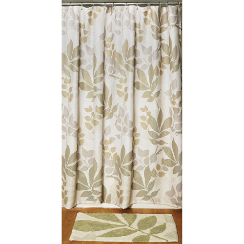 Shadow Leaves 2-Piece Bathroom Set - Shower Curtain and Rug