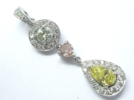 "BJB Platinum Diamond Drop Natural Color Diamond Pendant 1.5"" 1.57Ct GI by"