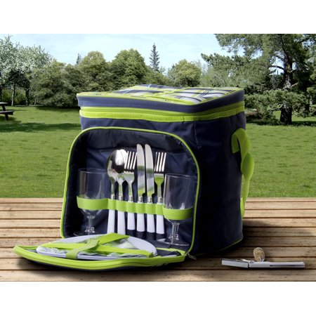 Insulated Picnic Basket Set - Lunch Tote Backpack Cooler w/ Utensils and Plates Bleu Green - Picnic Baskets Wholesale
