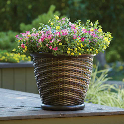 "Better Homes and Gardens 18"" Faux Wicker Planter, Brown by Suncast"
