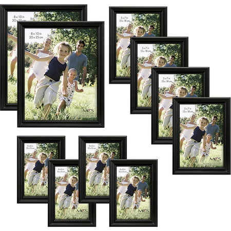 traditional black wood frame set set of 10