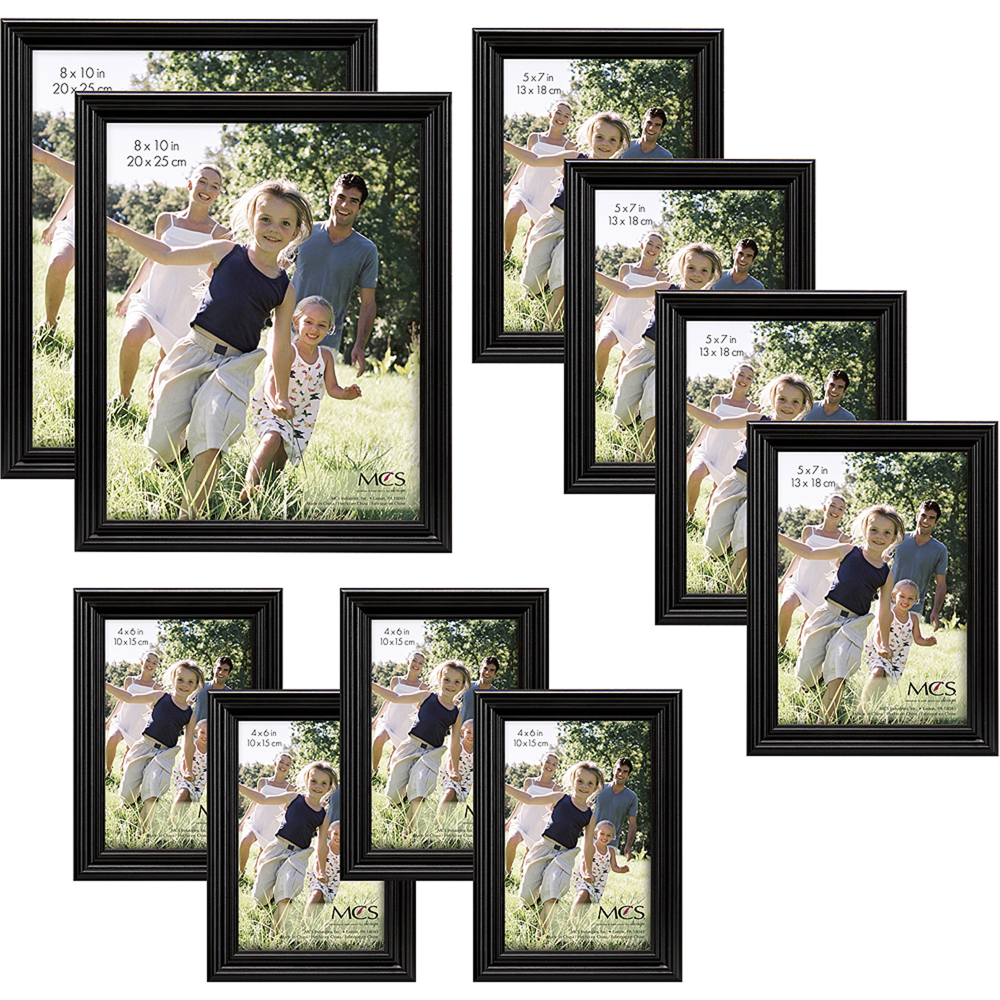 Traditional Black Wood Picture Frame Set, Set of 10