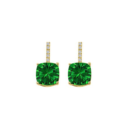Hanging Square Emerald CZ Halo Stud Earrings Vermeil - image 2 de 2