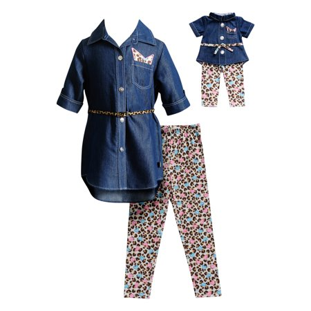 Chambray Tunic and Leopard Legging, 2-Piece Outfit Set with Matching Doll Outfit (Little Girls & Big Girls)