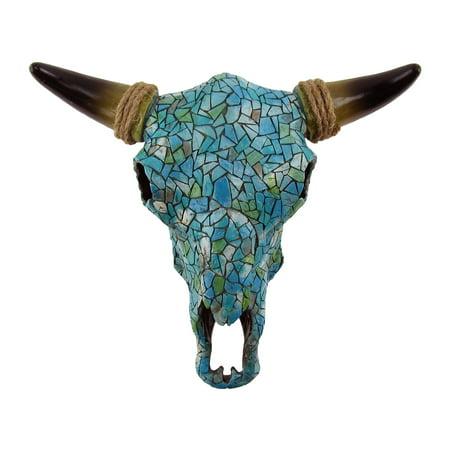 Cow Decor - Southwestern Turquoise Mosaic Steer/Bull/Cow Skull&Horns Head Western Wall Decor