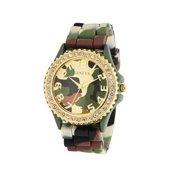 Geneva Silicone Ceramic Green Camouflage Band Wrist Watch Crystal Bezel