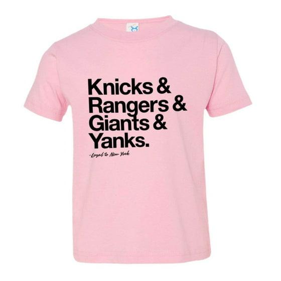 7fb02057 PleaseMeTees™ Toddler Kids Loyal to New York NY Knicks Rangers Giants  Yankees Sports Ball Tee