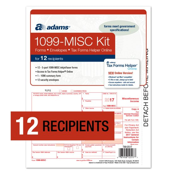 Adams 1099 Misc Forms Kit For 12 Recipients Wtax Forms Helper