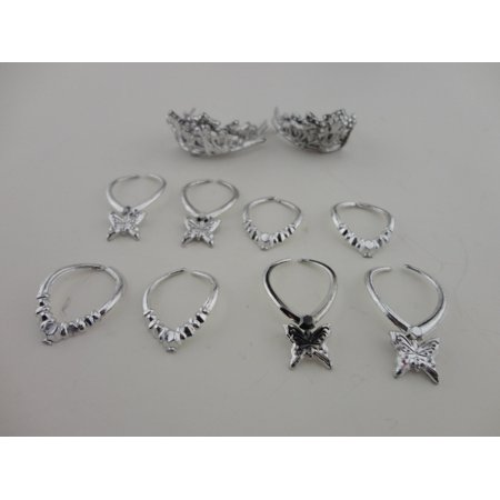 A Group of 12 Pieces of Jewelry in Silver Plastic 8 Necklaces and 4 Crowns Made to Fit the Dolls Doll (Groups Of Four)