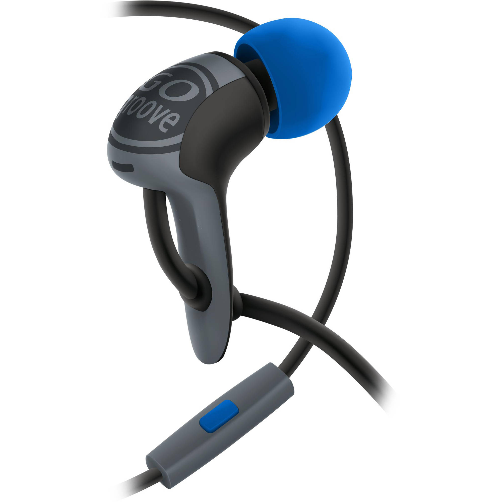 High Performance Noise Isolating AudiOHM HDX Ergonomic Earbud Headphones (Black & Blue) by GOgroove with Handsfree Mic - Works Great for Apple , Sony , HTC and More Smartphones