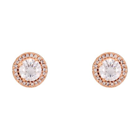 Authentic Classic Elegance Stud Earrings, Rose & CZ 286272CZ (Authentic Stud Earrings)