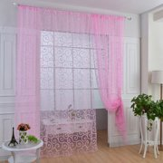 Flower Embroidered Voile Curtain Window Drape Panel Sheer Voile Rod Pocket