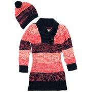 Dollhouse Little Girls Brushed Stripes Pointelle Knit Cardigan Sweater with Hat