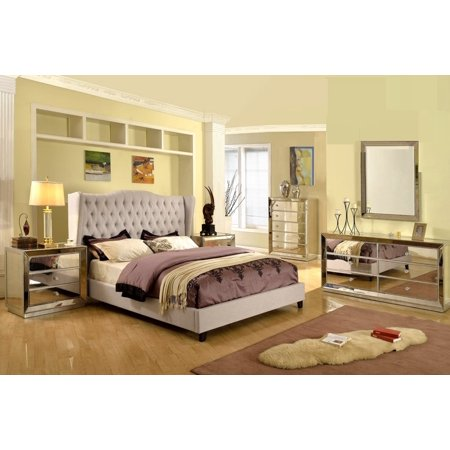 Formal Silver Mirrored Jameson Bedroom Set Taupe Color Eastern King Size Bed Wing Back Linen Blend