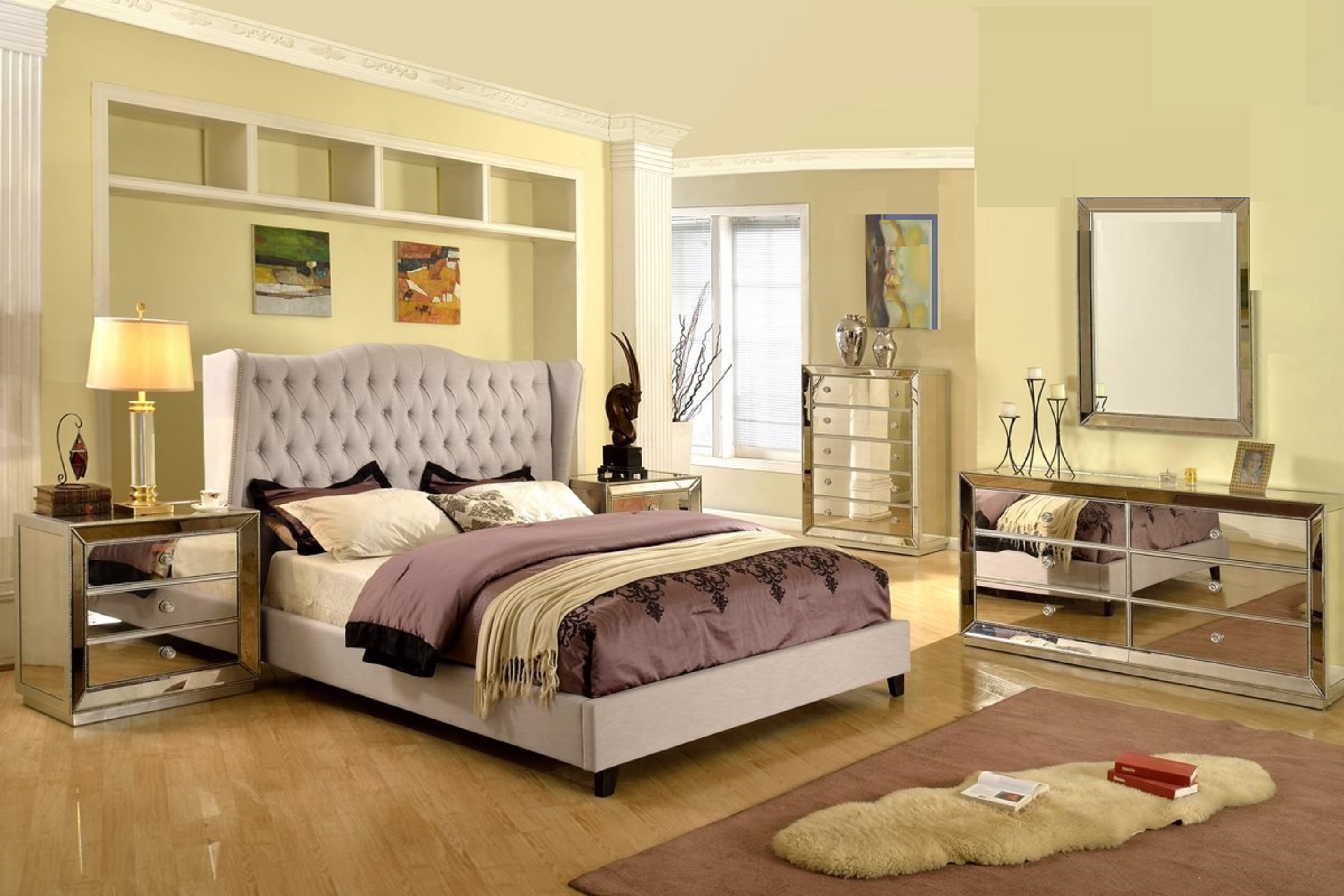 Formal Silver Mirrored Jameson Bedroom Set Taupe Color California King Size  Bed Wing Back Linen Blend Tufted HB W Classic Dresser Mirror Nightstand ...