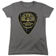 Sun Records Guitar Pick Womens Short Sleeve Shirt