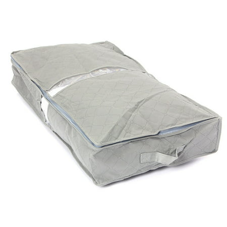 Gray Under-bed Storage Bag Portable Under The Bed Simplify Box Organizer with Clear Plastic Zippered Cover For Clothes Blankets Shoes item ()