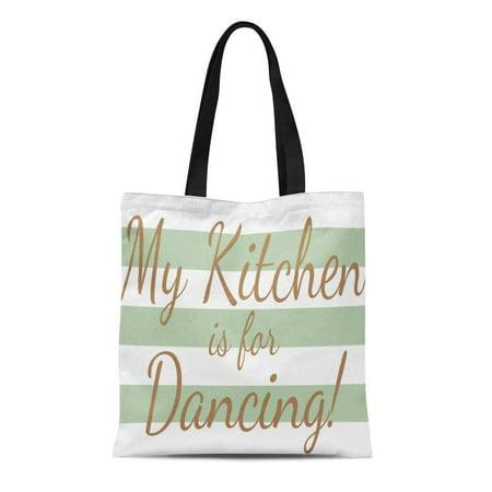SIDONKU Canvas Tote Bag Green Modern My Is for Dancing Striped Stripes Sage Reusable Handbag Shoulder Grocery Shopping