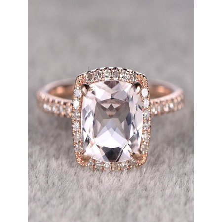 Limited Time Sale Antique 1.25 carat Morganite and Diamond Engagement Ring in 10k Rose Gold for